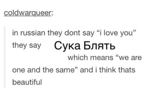 Coldwarqueer In Russian They Dont Say I Love You They Say