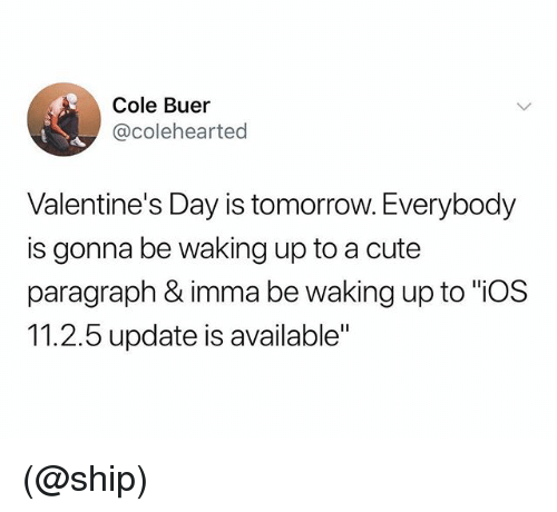 """Cute, Valentine's Day, and Tomorrow: Cole Buer  @colehearted  Valentine's Day is tomorrow. Everybody  is gonna be waking up to a cute  paragraph & imma be waking up to """"iOS  11.2.5 update is available"""" (@ship)"""
