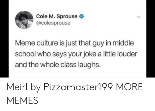 Dank, Meme, and Memes: Cole M. Sprouse  @colesprouse  Meme culture is just that guy in middle  school who says your joke a little louder  and the whole class laughs Meirl by Pizzamaster199 MORE MEMES