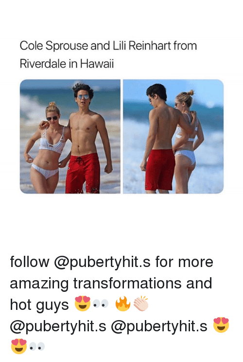 Hawaii, Girl Memes, and Amazing: Cole Sprouse and Lili Reinhart from  Riverdale in Hawaii follow @pubertyhit.s for more amazing transformations and hot guys 😍👀 🔥👏🏻 @pubertyhit.s @pubertyhit.s 😍😍👀