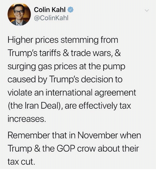 Colin Kahl Higher Prices Stemming From Trumps Tariffs Trade Wars