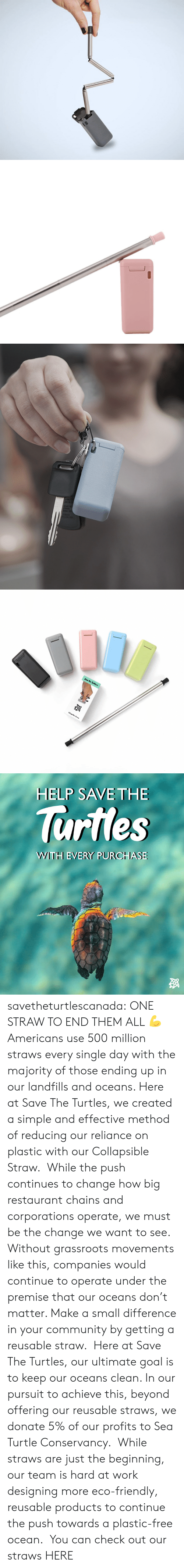 Community, Tumblr, and Work: Collapsible Strow   HELP SAVE THE  lurtles  WWITH EVERY PURCHASE savetheturtlescanada: ONE STRAW TO END THEM ALL 💪 Americans use 500 million straws every single day with the majority of those ending up in our landfills and oceans. Here at Save The Turtles, we created a simple and effective method of reducing our reliance on plastic with our Collapsible Straw.  While the push continues to change how big restaurant chains and corporations operate, we must be the change we want to see. Without grassroots movements like this, companies would continue to operate under the premise that our oceans don't matter. Make a small difference in your community by getting a reusable straw.  Here at Save The Turtles, our ultimate goal is to keep our oceans clean. In our pursuit to achieve this, beyond offering our reusable straws, we donate 5% of our profits to Sea Turtle Conservancy.  While straws are just the beginning, our team is hard at work designing more eco-friendly, reusable products to continue the push towards a plastic-free ocean.  You can check out our straws HERE