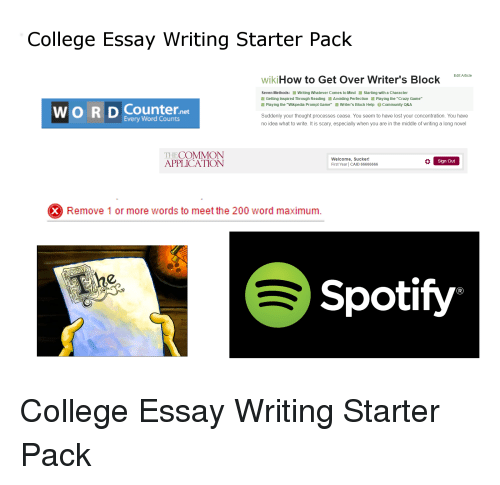 college essay writing starter pack how to get over writer s block  college starter packs and college essay writing starter pack how to get