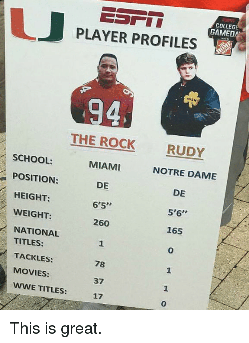 "College, Movies, and School: COLLEGE  GAMED  PLAYER PROFILES  RISH  THE ROCK  MIAMI  DE  6'5""  260  RUDY  SCHOOL:  POSITION:  HEIGHT:  WEIGHT:  NATIONAL  NOTRE DAME  DE  5'6""  165  0  TITLES:  TACKLES:  MOVIES:  WWE TITLES:  78  37  17  1  0 This is great."