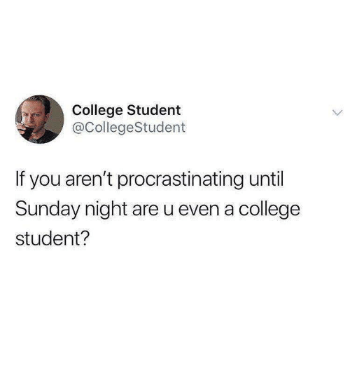College, Sunday, and Student: College Student  @CollegeStudent  If you aren't procrastinating until  Sunday night are u even a college  student?