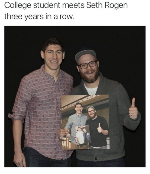 college student meets seth rogen three years in a row 2902712 ✅ 25 best memes about seth rogen seth rogen memes