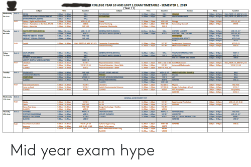 COLLEGE YEAR 10 AND UNIT 1 EXAM TIMETABLE - SEMESTER 12019 Year 11