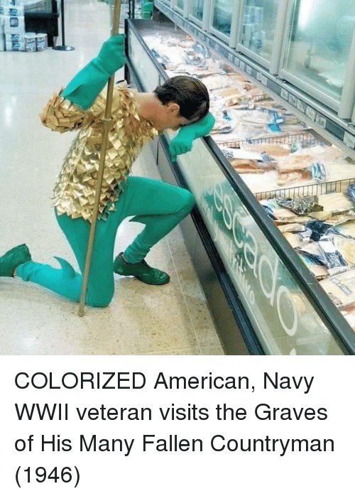American, Navy, and Graves: COLORIZED American, Navy WWII veteran visits the Graves of His Many Fallen Countryman (1946)