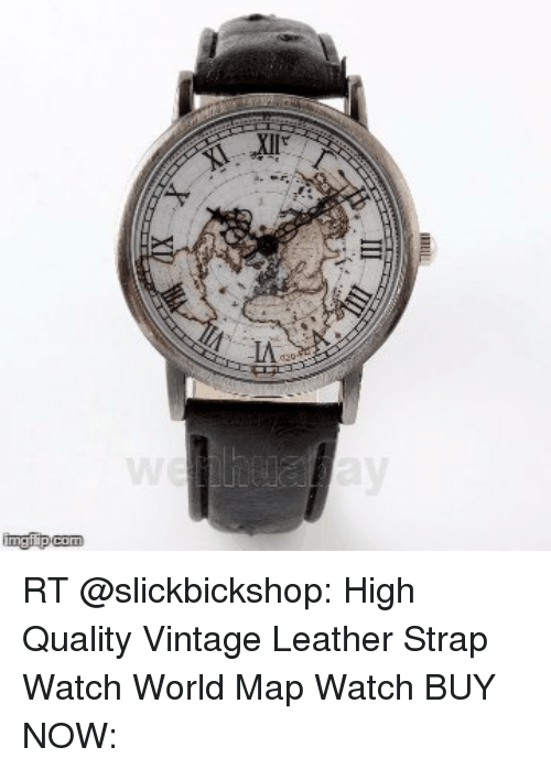 Com RT High Quality Vintage Leather Strap Watch World Map Watch BUY ...