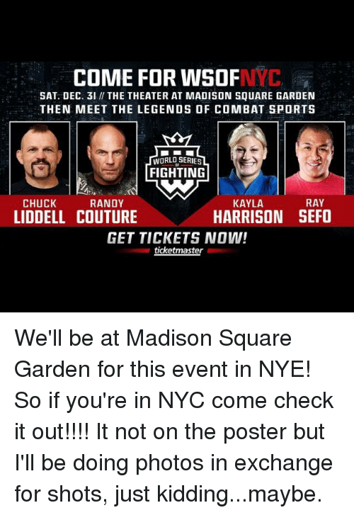Memes, Sports, And Madison Square Garden: COME FOR WSOF SAT. DEC.