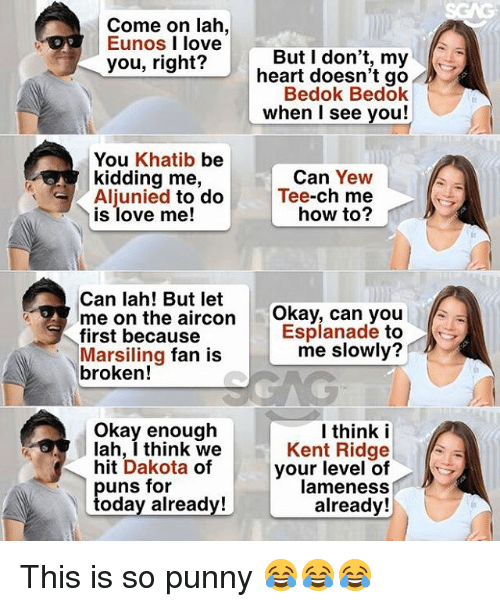 Love, Memes, and Heart: Come on lah,  Eunos I love  But I don't, my  heart doesn't go  Bedok Bedok  when I see you!  you, right?  01  You Khatib be  kidding me,  Aljunied to do  is love me!  Can Yew  Tee-ch me  how to?  Can lah! But let  me on the aircon  first because  Marsiling fan is  broken!  Okay, can you  Esplanade to  me slowly?  Okay enough  lah, I think we  hit Dakota of  l think i  Kent Ridge  your level of  lameness  already!  uns for  oday already! This is so punny 😂😂😂