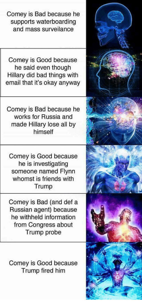 Bad, Friends, and Email: Comey is Bad because he  supports waterboarding  and mass surveilance  Comey is Good because  he said even though  Hillary did bad things with  email that it's okay anyway  Comey is Bad because he  works for Russia and  made Hillary lose all by  himself  Comey is Good because  he is investigating  someone named Flynn  whomst is friends with  Trump  Comey is Bad (and def a  Russian agent) because  he withheld information  from Congress about  Trump probe  Comey is Good because  Trump fired him