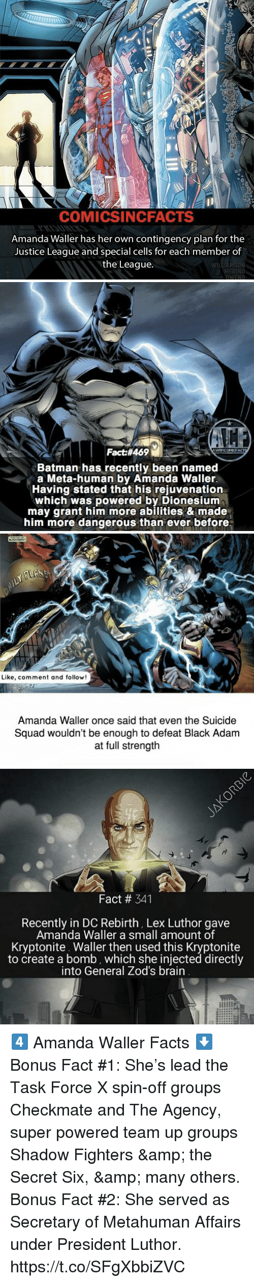 Batman, Facts, and Memes: COMICSINCFACTS  Amanda Waller has her own contingency plan for the  Justice League and special cells for each member of  the League  MERIN   Fact#469  Batman has recently been named  a Meta-human by Amanda Waller  Having stated that his rejuvenation  which was powered by Dionesiunm  may grant him more abilities & made  him more dangerous than ever before   -心  Like, comment and follow!  Amanda Waller once said that even the Suicide  Squad wouldn't be enough to defeat Black Adam  at full strength   Fact # 341  Recently in DC Rebirth, Lex Luthor gave  Amanda Waller a small amount of  Kryptonite. Waller then used this Kryptonite  to create a bomb, which she injected directly  into General Zod's brain 4️⃣ Amanda Waller Facts ⬇️  Bonus Fact #1: She's lead the Task Force X spin-off groups Checkmate and The Agency, super powered team up groups Shadow Fighters & the Secret Six, & many others.  Bonus Fact #2: She served as Secretary of Metahuman Affairs under President Luthor. https://t.co/SFgXbbiZVC