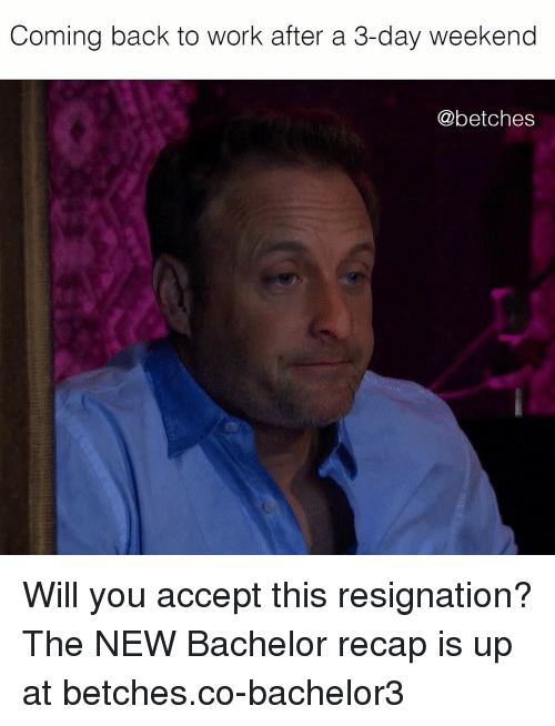 Work, Bachelor, and Girl Memes: Coming back to work after a 3-day weekend  @betches Will you accept this resignation? The NEW Bachelor recap is up at betches.co-bachelor3