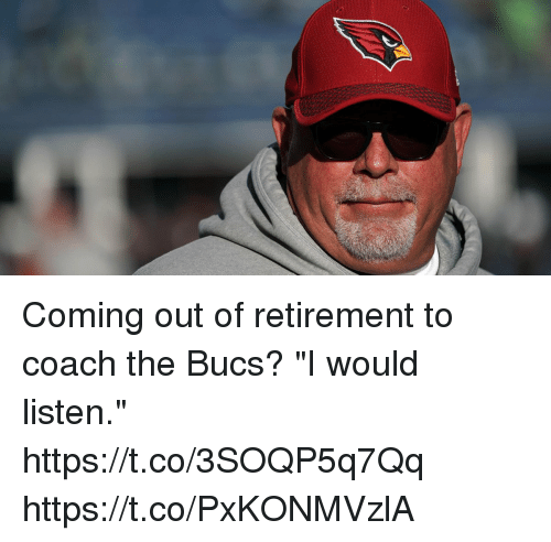 "Memes, 🤖, and Coach: Coming out of retirement to coach the Bucs?  ""I would listen."" https://t.co/3SOQP5q7Qq https://t.co/PxKONMVzlA"