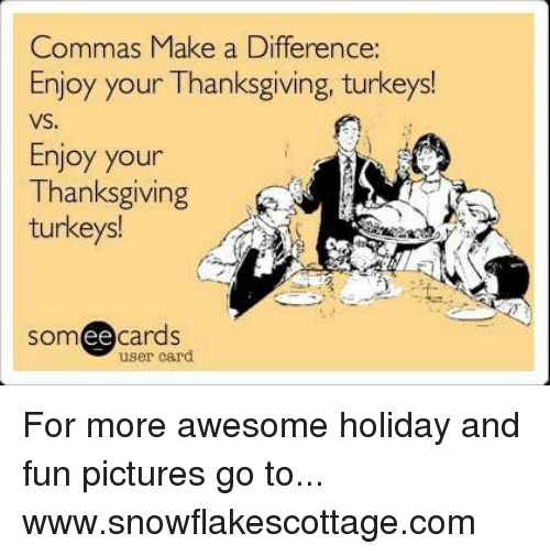 Different Is Awesome Holiday Package: Commas Make A Difference Enjoy Your Thanksgiving Turkeys