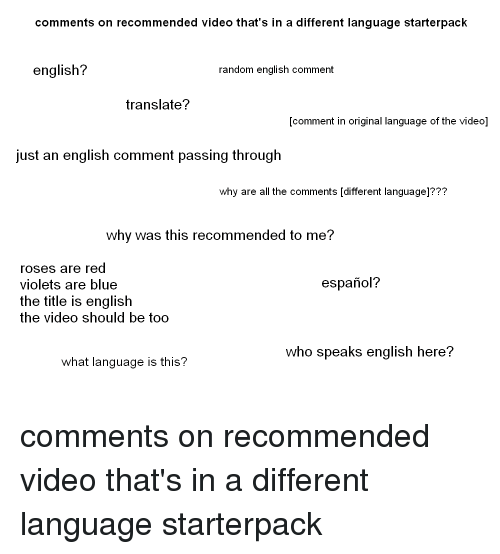Comments on Recommended Video That's in a Different Language