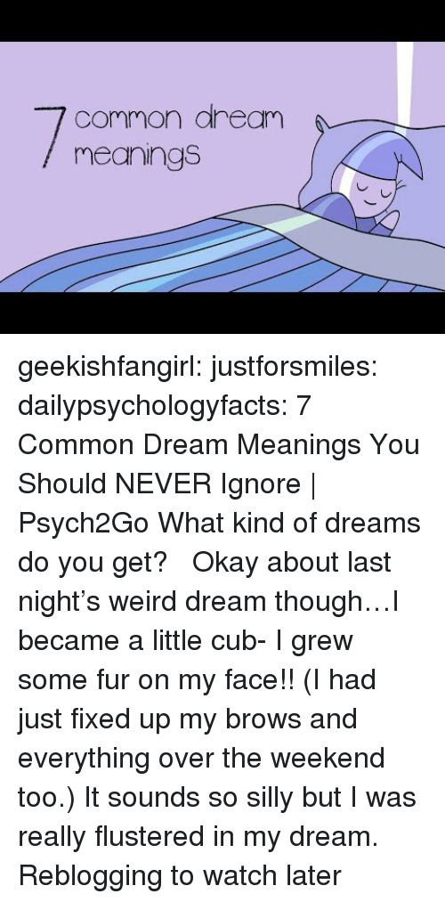 Tumblr, Weird, and youtube.com: common aream  meanings geekishfangirl:  justforsmiles:  dailypsychologyfacts:  7 Common Dream Meanings You Should NEVER Ignore | Psych2Go What kind of dreams do you get?    Okay about last night's weird dream though…I became a little cub- I grew some fur on my face!! (I had just fixed up my brows and everything over the weekend too.) It sounds so silly but I was really flustered in my dream.   Reblogging to watch later