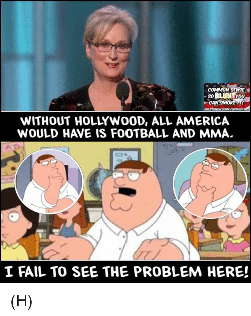America, Fail, and Football: COMMON SENSE  WITHOUT HOLLYWOOD, ALL AMERICA  WOULD HAVE IS FOOTBALL AND MMA.  I FAIL TO SEE THE PROBLEM HERE! (H)
