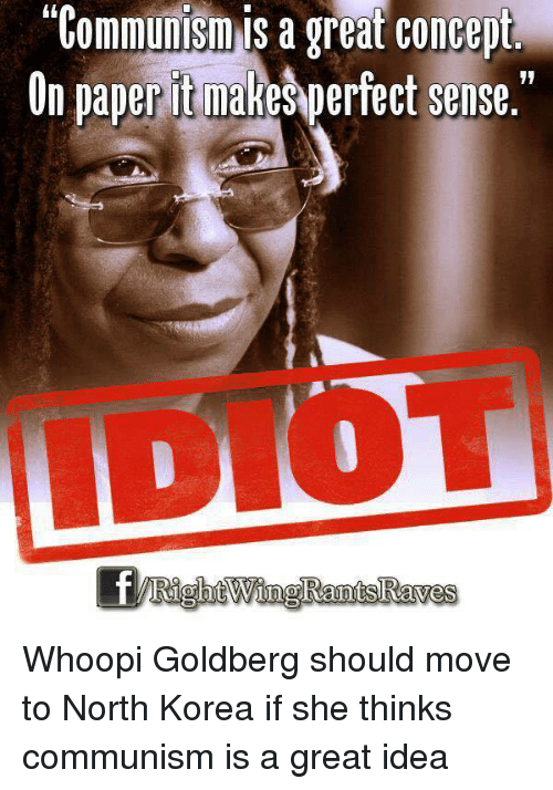 "Memes, North Korea, and Whoopi Goldberg: ""Communism is a great concept  On paper itmakesperfect sense."" Whoopi Goldberg should move to North Korea if she thinks communism is a great idea"