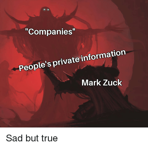 "True, Information, and Dank Memes: ""Companies  People's private information  Mark Zuck"