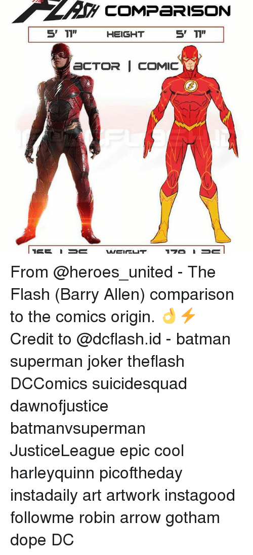 COMPARISON 5' TI'' 5 T1 HEIGHT ECTOR I COMIC From - The Flash Barry