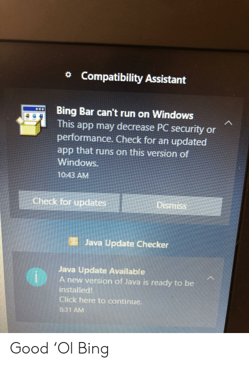 Compatibility Assistant Bing Bar Can't Run on Windows This
