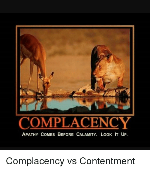 Memes, 🤖, and Look It Up: COMPLACENCY  APATHY COMES BEFORE CALAMITY. LooK IT UP. Complacency vs Contentment