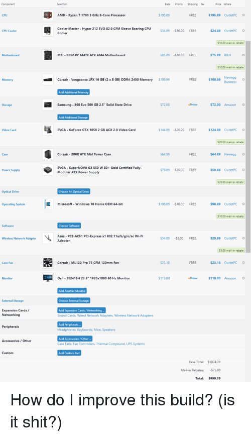 Component Selection Base Promo Shipping Tax Price Where Cpu Amd