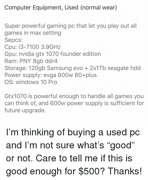 Computer Equipment Used Normal Wear Super Powerful Gaming Pc That