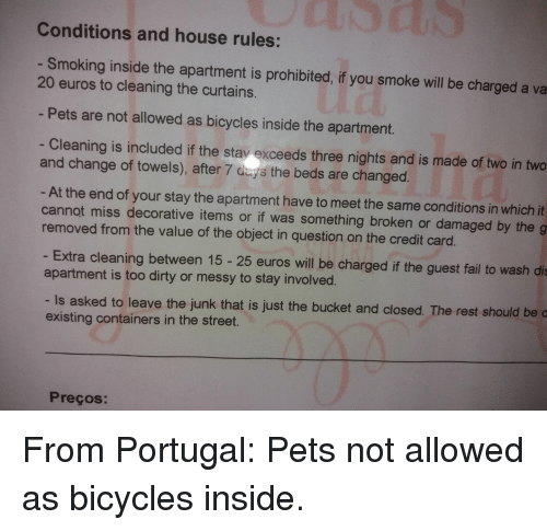 Fail Smoking And Dirty Conditions House Rules Inside The Apartment