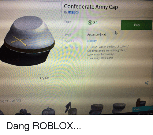 Confederate Army Cap by ROBLOX 34 Price Buy Accessory   Hat Genres