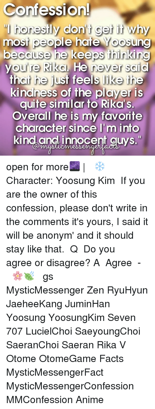 "Anime, Facts, and Memes: Confession!  honestly don t get it why  most people hate oosung  because he keeps thinking  youre Rika. He never said  that he just feels like the  kindness of the player is  quite similar to Rika s.  Overall he is my favorite  character since I'm into  kind and innocent guys."" open for more🌌 