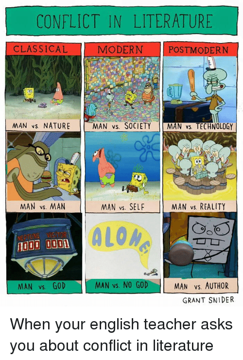 God, Teacher, and Nature: CONFLICT IN LITERATURE  CLASSICAL  MODERN POSTMODERN  NAN vs. NATURE  MAN vs. SOCIETY MAN vs. TECHNOLOGY  MAN vs. MAN  MAN vs. SELF  MAN vs. REALITY  ALOM  MAN vs. GOD  MAN vs. NO GOD  MAN Vs. AUTHOR  GRANT SNIDER When your english teacher asks you about conflict in literature