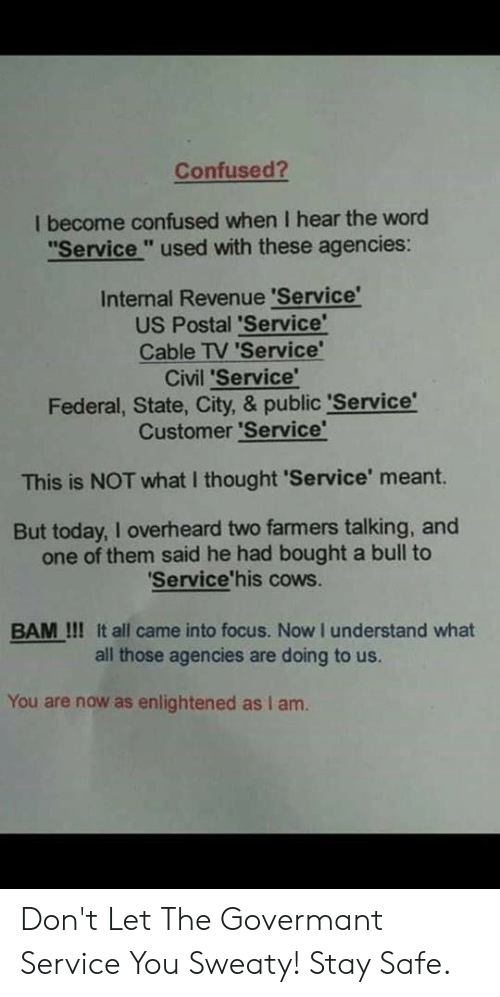 "Confused, Focus, and Today: Confused?  I become confused when I hear the word  ""Service"" used with these agencies:  Internal Revenue 'Service  US Postal 'Service'  Cable TV 'Service  Civil 'Service'  Federal, State, City, & public 'Service  Customer 'Service  This is NOT what I thought 'Service' meant.  But today, I overheard two farmers talking, and  one of them said he had bought a bull to  'Service'his cows.  BAM!!! It all came into focus. Now I understand what  all those agencies are doing to us.  You are now as enlightened as I am. Don't Let The Govermant Service You Sweaty! Stay Safe."