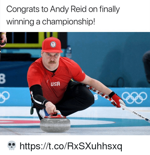 Andy Reid, Football, and Nfl: Congrats to Andy Reid on finally  winning a championship!  USA 💀 https://t.co/RxSXuhhsxq