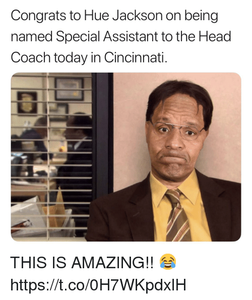 Football, Head, and Nfl: Congrats to Hue Jackson on being  named Special Assistant to the Head  Coach today in Cincinnati. THIS IS AMAZING!! 😂 https://t.co/0H7WKpdxlH