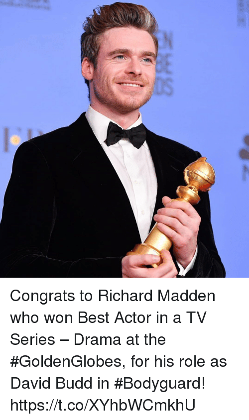 Memes, Richard Madden, and Best: Congrats to Richard Madden who won Best Actor in a TV Series – Drama at the #GoldenGlobes⁠, for his role as David Budd in #Bodyguard! https://t.co/XYhbWCmkhU