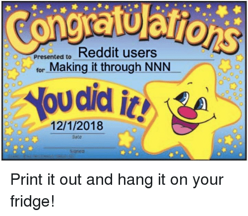 Congratuarion Resented to Reddit Users for Making It Through