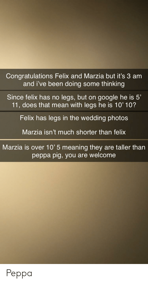 Congratulations Felix and Marzia but It's 3 Am and I've Been Doing Some  Thinking Since Felix Has No Legs but on Google He Is 5' 11 Does That Mean  With Legs He