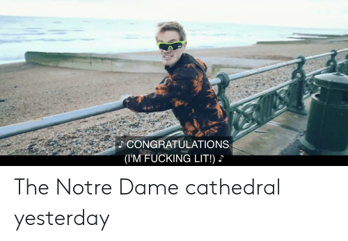 Fucking, Lit, and Congratulations: CONGRATULATIONS  (I'M FUCKING LIT!) The Notre Dame cathedral yesterday
