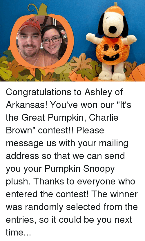 """Charlie, Memes, and Arkansas: Congratulations to Ashley of Arkansas! You've won our """"It's the Great Pumpkin, Charlie Brown"""" contest!! Please message us with your mailing address so that we can send you your Pumpkin Snoopy plush.  Thanks to everyone who entered the contest! The winner was randomly selected from the entries, so it could be you next time..."""