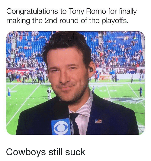 afc70ae8d Congratulations to Tony Romo for Finally Making the 2nd Round of the ...