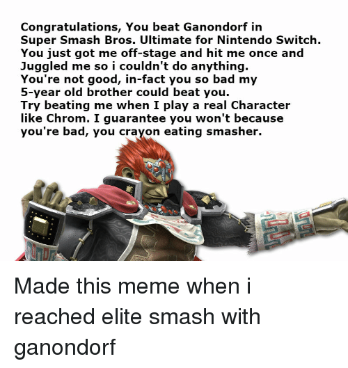 Congratulations You Beat Ganondorf Irn Super Smash Bros