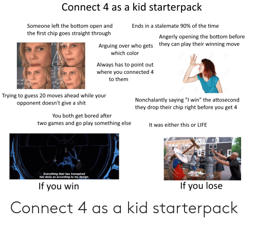 "Bored, Life, and Shit: Connect 4 as a kid starterpack  Someone left the bottom open and  the first chip goes straight through  Ends in a stalemate 90% of the time  Angerly opening the bottom before  they can play their winning move  Arguing over who gets  which color  Always has to point out  where you connected 4  sin  an  to them  za  Trying to guess 20 moves ahead while your  Nonchalantly saying ""I win"" the attosecond  they drop their chip right before you get 4  opponent doesn't give a shit  You both get bored after  two games and go play something else  It was either this or LIFE  Everything that has transpired  has done so according to my design  If you wirn  If you lose Connect 4 as a kid starterpack"