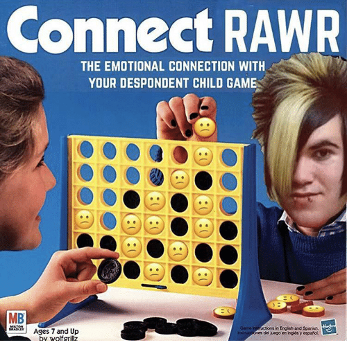 Game, English, and Child: Connect RAWR  THE EMOTIONAL CONNECTION WITH  YOUR DESPONDENT CHILD GAME  MB  MAAges 7 and Up  ne nt uctions in English and Sponish