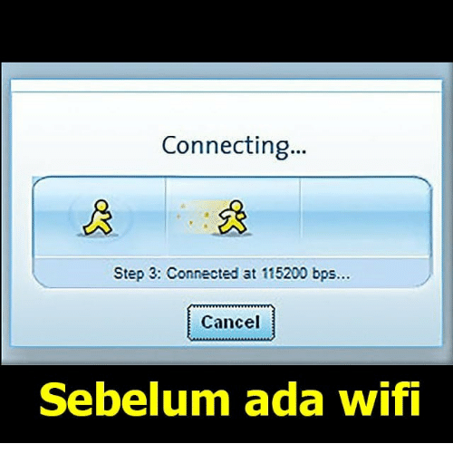 Connected, Wifi, and Indonesian (Language): Connecting...  Step 3: Connected at 115200 bps..  Cancel  Sebelum ada wifi
