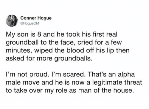 Dank, House, and Proud: Conner Hogue  HogueCM  My son is 8 and he took his first real  groundball to the face, cried for a few  minutes, wiped the blood off his lip then  asked for more groundballs.  I'm not proud. I'm scared. That's an alpha  male move and he is now a legitimate threat  to take over my role as man of the house.
