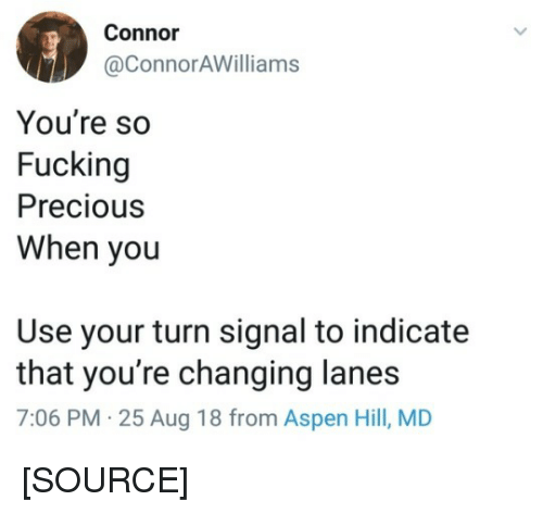Fucking, Precious, and Tumblr: Connor  @ConnorAWilliams  You're so  Fucking  Precious  When you  Use your turn signal to indicate  that you're changing lanes  7:06 PM 25 Aug 18 from Aspen Hill, MD [SOURCE]