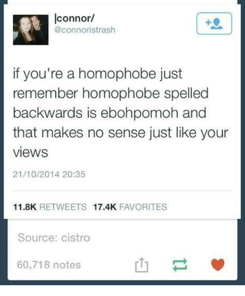 Dank, 🤖, and Source: connor/  @connoristrash  if you're a homophobe just  remember homophobe spelled  backwards is ebohpomoh and  that makes no sense just like your  VieWS  21/10/2014 20:35  11.8K  RETWEETS  17.4K  FAVORITES  Source: cistro  60,718 notes.